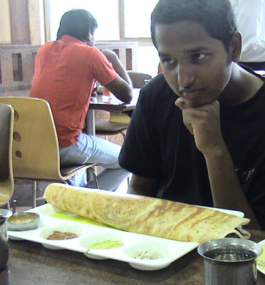 Tim with his masala dosai in Chennai