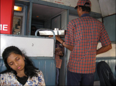 Catering in a train while Prisy sleeps