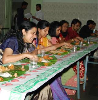 Enjoying the wedding meal